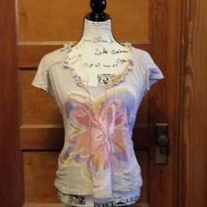 Anthropologie Ric Rac floral cotton knit blouse